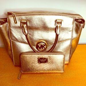 Michael Kors Gold handbag and large wallet